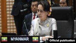 ႏိုင္ငံေတာ္အတိုင္ပင္ခံပုဂၢိဳလ္ ေဒၚေအာင္ဆန္းစုၾကည္ ပထမအႀကိမ္ မဲေခါင္-ကိုရီးယား ထိပ္သီးအစည္းအေဝးသို႔ တက္ေရာက္ (Photo- Myanmar State Counsellor Office)