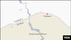 Граница между Сирией и Турцией в районе города Кобани и реки Евфрат