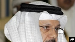 New Secretary General of the Gulf Cooperation Council, GCC, Dr. Abdullatif bin Rashid Al-Zayani speaks, in Riyadh, Saudi Arabia, April 3, 2011