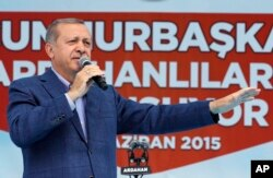 Turkey's President Recep Tayyip Erdogan addresses an election rally ahead of the upcoming general elections, in Ardahan, Turkey, June 6, 2015.