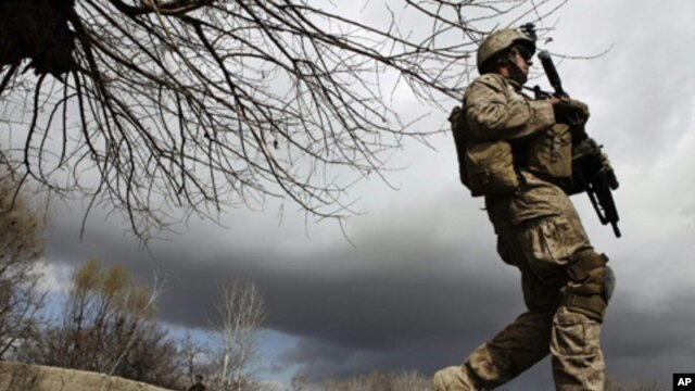 A U.S. Marine from the First Battalion Eighth Marines Alpha Company patrols near the town of Kunjak in southern Afghanistan's Helmand province, Feb. 23, 2011.