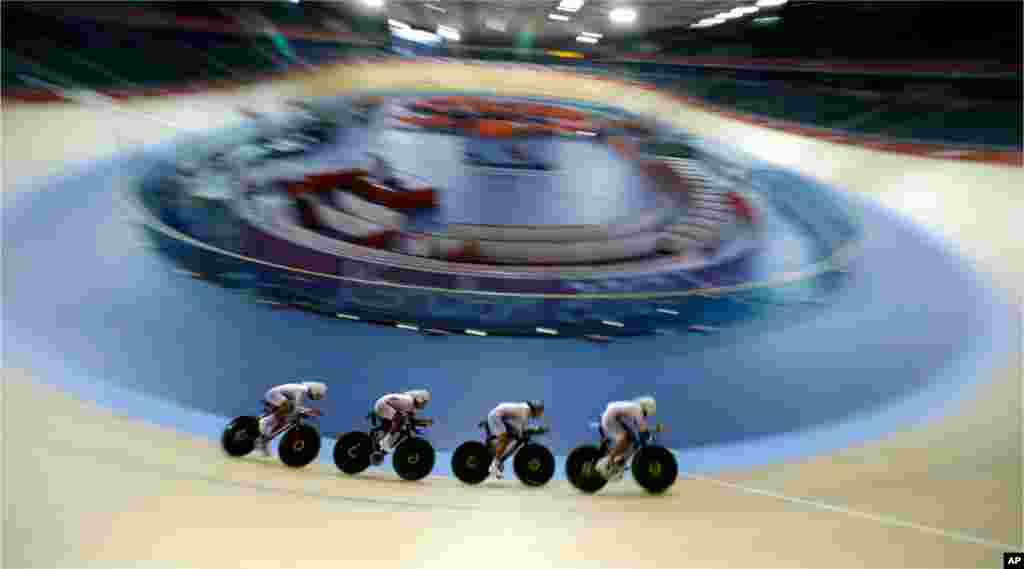 The South Korean men's cycling team during a training session at the Velopark in London, July 30, 2012.