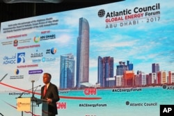 FILE - Jon Huntsman Jr., Chairman of Atlantic Council, speaks at the Atlantic Council Global Energy Forum in Abu Dhabi, United Arab Emirates, Jan. 12, 2017.