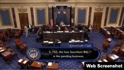 14일 미국 상원이 이란과 러시아 제재 법안을 투표하고 있다.