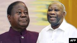 Les anciens présidents ivoiriens Henri Konan Bédié et Laurent Gbagbo. (Photo AFP)