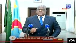 Le Président Félix Tshisekedi prononçant son discours à l'issue des consultations politiques, au Palais de l'Etat, à Kinshasa, le 6 décembre 2020.