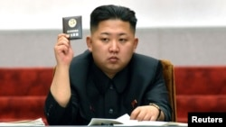 Lãnh tụ Bắc Triều Tiên Kim Jong Un trong một cuộc họp tại Bình Nhưỡng.