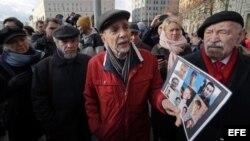 Лев Пономарев на акции в поддержку обвиняемых по делу «Нового величия», 28 октября 2018 года