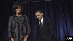 Президент США Барак Обама с супругой Мишель на Молитвенном завтраке в Вашингтоне. 3 февраля 2011 года