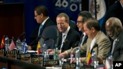 U.S. Assistant Secretary for the Bureau of International Narcotics and Law Enforcement Affairs, William Brownfield, second from left, attends the inauguration of the Organization of American States (OAS) 46th Special General Assembly in Guatemala City.