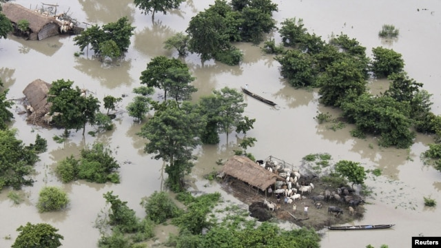 A view of the flood-affected area of Sonitpur district in the northeastern Indian state of Assam, July 1, 2012.