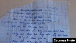 Bài thơ 'Ðất nước' do Phương Uyên sáng tác vào khoảng 5, 6 tháng trước khi bị bắt.