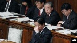 日本首相野田佳彥星期二出席國會會議