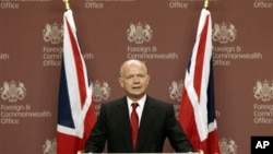 Sakataren harkokin wajen Ingila William Hague.