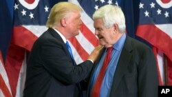 FILE - Republican Presidential candidate Donald Trump and former House Speaker Newt Gingrich share the stage during a campaign rally in Cincinnati, July 6, 2016. Gingrich is expected to be part of President Trump's leadership team, either as secretary of state or White House chief of staff.