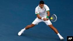 Novak Djokovic of Serbia during the semi-final match at Dubai Duty Free Tennis Championships