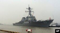 """美國""""斯特西姆""""號導彈驅逐艦(資料照片)"""