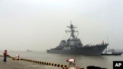 16일 중국 상하이항에 미 구축함 스테덤호가 도착했다.