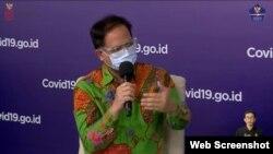 Wakil Ketua Umum Asosiasi Muslim Penyelenggara Haji dan Umrah Republik Indonesia (AMPHURI) Bungsu Sumawijaya dalam telekonferensi pers di Graha BNPB Jakarta, Rabu (11/11).(Foto: VOA)