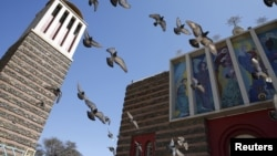 Pigeons fly outside the Nda Mariam Orthodox Cathedral in Eritrea's capital Asmara, Feb. 16, 2016.