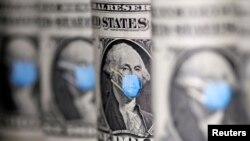 George Washington terlihat menggunakan masker pada uang kertas satu Dolar dalam ilustrasi yang diambil, 31 Maret 2020. (Foto: REUTERS / Dado Ruvic)