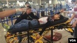浦東機場爆炸現場傷員送醫急救