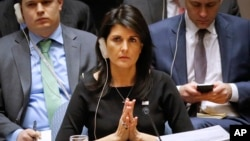 FILE - United Nations U.S. Ambassador Nikki Haley listens during a U.N. Security Council meeting, Jan. 18, 2018, at U.N. headquarters.