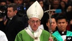 Le pape François lors d'une messe au Vatican, 14 janvier 2018.