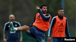 Lionel Messi et ses coequipiers à l'entrainement à Buenos Aires, Argentine le 28 aout 2017