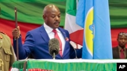 Burundi's President Pierre Nkurunziza is sworn in for a third term at a ceremony in the parliament in Bujumbura, Burundi, Aug. 20, 2015.