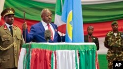 Burundi's President Pierre Nkurunziza is sworn in for a third term at a ceremony in the parliament in Bujumbura, Aug. 20, 2015.