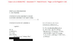 """九名""""獵狐行動""""參與者在美國被起訴 被控充當中國政府非法代理人"""