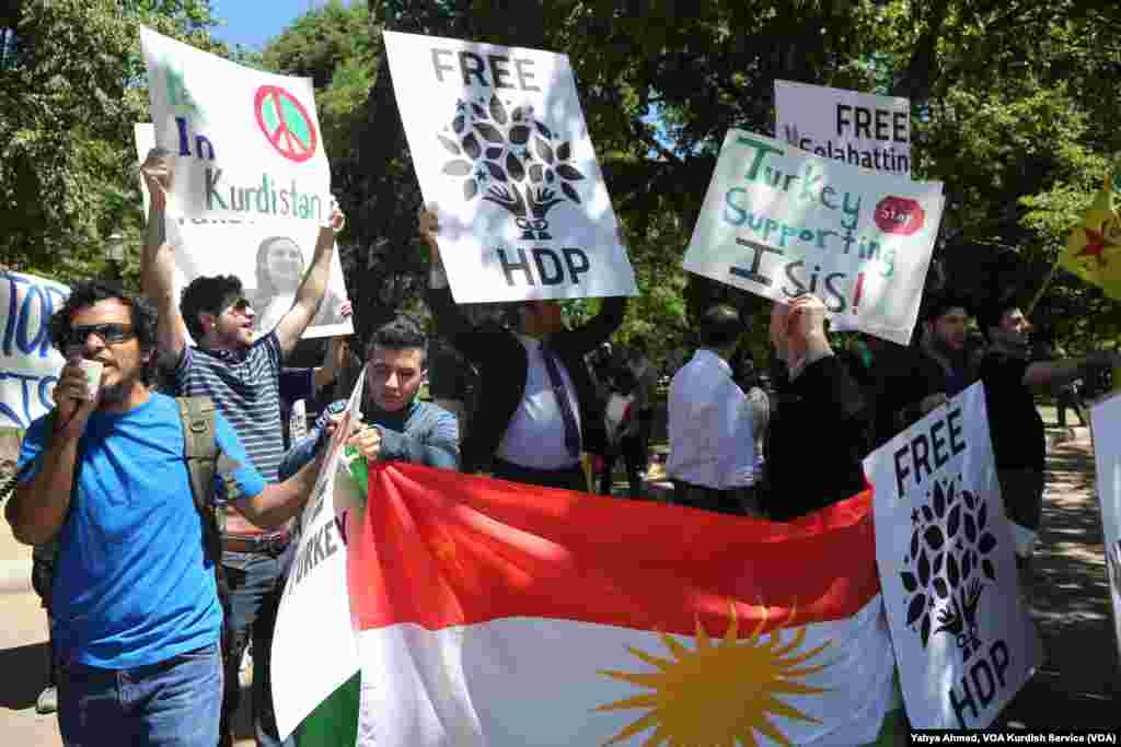 Protesters demonstrate outside the White House as Turkish President Recep Tayyip Erdogan meets with U.S. President Donald Trump, May 16, 2017.