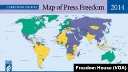 自由之家2014年全球新聞自由度地圖:綠色為享有新聞自由的國家或地區;黃色為享有部分新聞自由的國家或地區;藍色為沒有新聞自由的國家或地區 資料來源(自由之家)