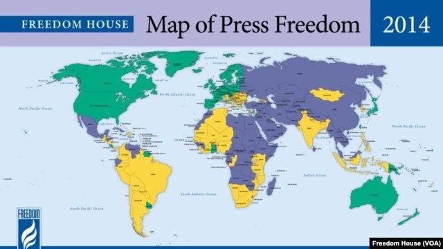 សន្ទស្សន៍របស់អង្គការ Freedom House អំពីសេរីភាពសារព័ត៌មានឆ្នាំ២០១៤។