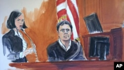 In this courtroom sketch, defendant Mehmet Atilla, right, testifies during his trial on corruption charges, Dec. 15, 2017 in New York. The Turkish banker is accused of helping Iran evade U.S. sanctions.