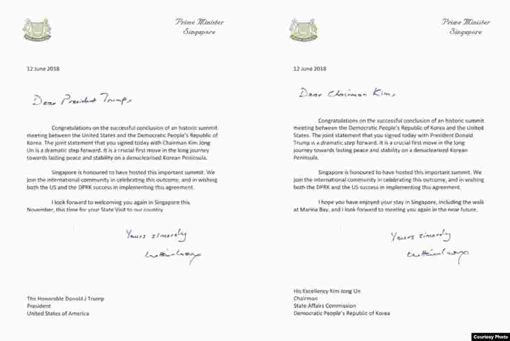 리셴룽 싱가포르 총리가 12일 미북정상회담을 끝낸 도널드 트럼프 미국 대통령과 김정은 북한 국무위원장에게 보낸 축하편지.국제사회는 미-북 정상회담 결과를 대부분 긍정적으로 평가하면서 합의 이행과 추가적인 협상을 통해 '한반도 비핵화' 달성을 촉구했다.