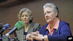 Irish abuse victim Marie Collins (R) talks during a news conference with British Professor Sheila Hollins in downtown Rome, February 7, 2012.