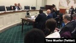 Les panélistes devant la commission lors d'une audience au Congrès, à Washington DC, le 29 novembre 2016. (Twitter/Timo Mueller)
