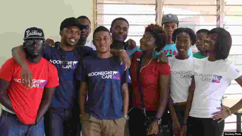 The Legon branch production crew posing with Moonlight Café Ghana founders Kobby Koomson (far left) and Sydney Scout Sam (second from left). (Courtesy Moonlight Cafe)