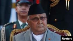 """Perdana Menteri Nepal yang baru terpilih Khadga Prasad Sharma Oli, (K.P. Oli) di gedung kepresidenan """"Shital Niwas"""" Kathmandu, Nepal, 15 Februari 2018."""
