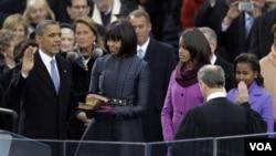 2013年1月21日奧巴馬總統在聯邦大法官羅伯斯主持下宣誓就職第二個任期