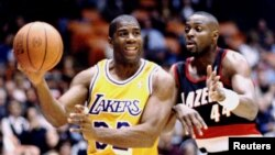 "Earvin ""Magic"" Johnson le 13 mars 1996."