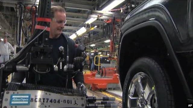 Scene inside an US auto plant