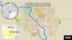 ផែនទីបង្ហាញពីក្រុង Mosul នៅប្រទេសអ៊ីរ៉ាក់។ អ៊ីរ៉ា់ក់ទាមទារឲ្យតួកគីដកទ័ពចេញពីក្រុងនេះ។