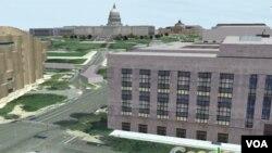 El Capitolio, las oficinas de la Voz de América, la lluvia que caía en ese momento... Todo aparece representado en Google Earth.