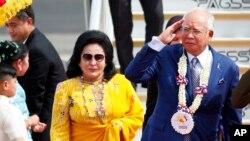 나집 라작 전 말레이시아 총리(오른쪽)와 부인 로스마 만소르 여사.