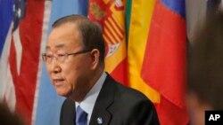 Sekretaris Jenderal PBB Ban Ki-moon berbicara kepada wartawan mengenai Korea Utara di Markas Besar PBB (9/9). (AP/Bebeto Matthews)