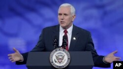FILE - Vice President Mike Pence, pictured at the Conservative Political Action Conference in National Harbor, Maryland, Feb. 23, 2017, will be the first vice president to address a Notre Dame commencement.