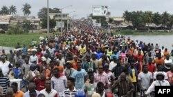 Une manifestation antigouvernementale menée par une coalition de partis d'opposition à Lomé, 7 septembre 2017.